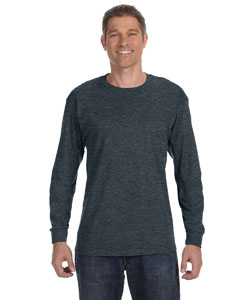Black Heather 5.6 oz., 50/50 Heavyweight Blend™ Long-Sleeve T-Shirt