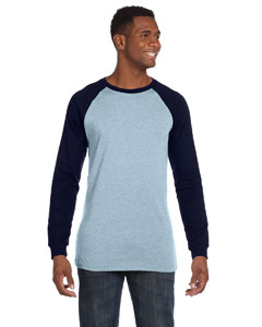 Light Blue/navy Men's Jersey Long-Sleeve Baseball T-Shirt