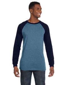 Steel Blue/navy Men's Jersey Long-Sleeve Baseball T-Shirt