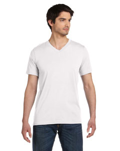 White Unisex Jersey Short-Sleeve V-Neck T-Shirt