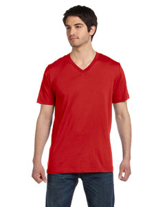 Red Unisex Jersey Short-Sleeve V-Neck T-Shirt