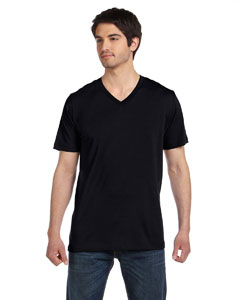 Black Unisex Jersey Short-Sleeve V-Neck T-Shirt