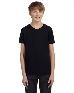 Black Youth Jersey Short-Sleeve V-Neck T-Shirt