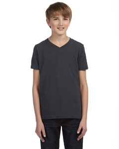 Dark Grey Heather Youth Jersey Short-Sleeve V-Neck T-Shirt