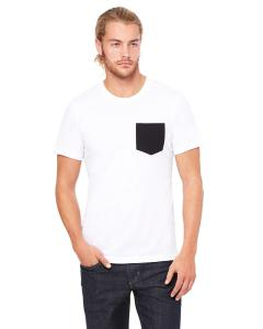 White/ Black Men's Jersey Short-Sleeve Pocket T-Shirt