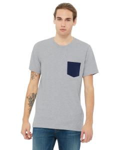 Ath Hthr/ Navy Men's Jersey Short-Sleeve Pocket T-Shirt