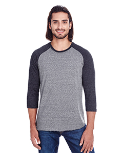 Grey/ Black Trib Unisex Triblend 3/4 Sleeve Raglan