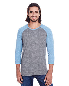 Grey/ Royal Trib Unisex Triblend 3/4 Sleeve Raglan