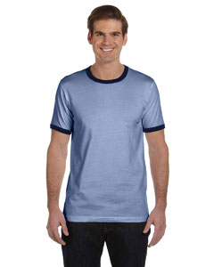 Heather Blue/navy Men's Jersey Short-Sleeve Ringer T-Shirt