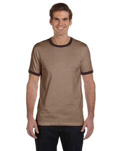 Heather Brown/brown Men's Jersey Short-Sleeve Ringer T-Shirt