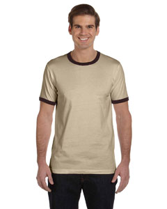 Heather Tan/brown Men's Jersey Short-Sleeve Ringer T-Shirt
