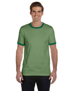Heather Green/forest Men's Jersey Short-Sleeve Ringer T-Shirt