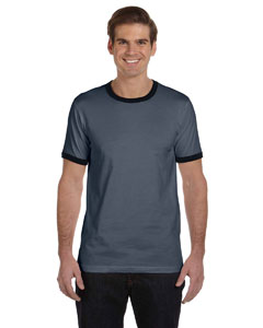 Deep Heather/black Men's Jersey Short-Sleeve Ringer T-Shirt