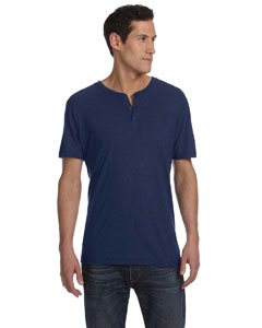 Navy Triblend Men's Triblend Short-Sleeve Henley