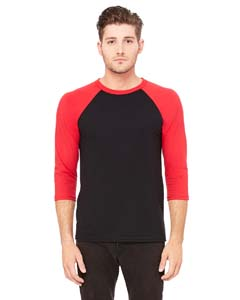 Black/ Red Unisex 3/4-Sleeve Baseball T-Shirt