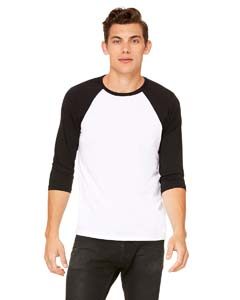 White/ Black Unisex 3/4-Sleeve Baseball T-Shirt