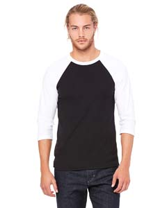 Black/ White Unisex 3/4-Sleeve Baseball T-Shirt