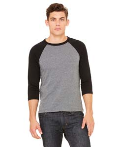 Deep Heathr/ Blk Unisex 3/4-Sleeve Baseball T-Shirt