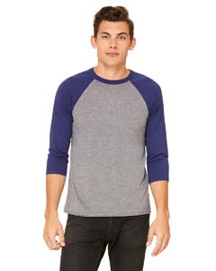 Grey/ Navy Trb Unisex 3/4-Sleeve Baseball T-Shirt