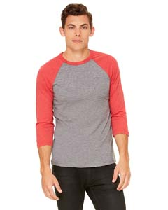 Grey/ Lt Red Trb Unisex 3/4-Sleeve Baseball T-Shirt