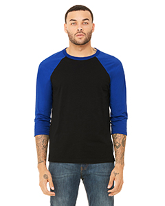 Black/ True Royl Unisex 3/4-Sleeve Baseball T-Shirt