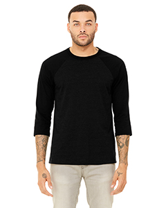 Blk Heather/ Blk Unisex 3/4-Sleeve Baseball T-Shirt