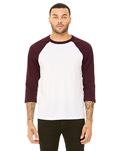 White/ Maroon Unisex 3/4-Sleeve Baseball T-Shirt