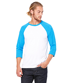 White/ Neon Blue Unisex 3/4-Sleeve Baseball T-Shirt