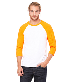 Wht/ Neon Orange Unisex 3/4-Sleeve Baseball T-Shirt