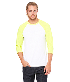 Wht/ Neon Yellow Unisex 3/4-Sleeve Baseball T-Shirt