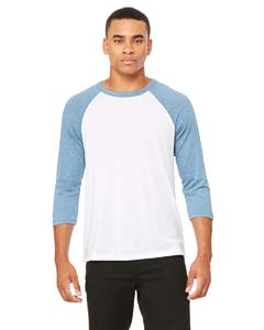 White/ Denim Unisex 3/4-Sleeve Baseball T-Shirt