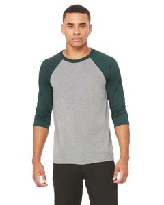 Grey/ Emerld Trb Unisex 3/4-Sleeve Baseball T-Shirt