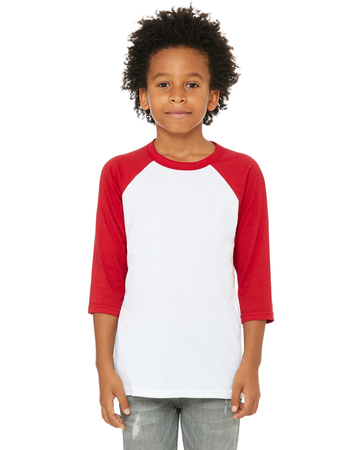 White/ Red Youth 3/4-Sleeve Baseball T-Shirt