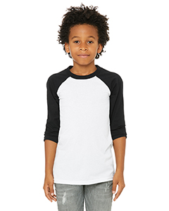 White/ Black Youth 3/4-Sleeve Baseball T-Shirt