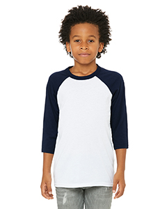 White/ Navy Youth 3/4-Sleeve Baseball T-Shirt
