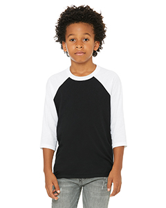 Black/ White Youth 3/4-Sleeve Baseball T-Shirt