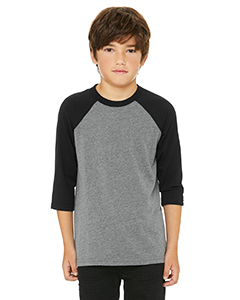 Deep Hthr/ Black Youth 3/4-Sleeve Baseball T-Shirt
