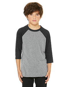Gry/ Chr Blk Trb Youth 3/4-Sleeve Baseball T-Shirt