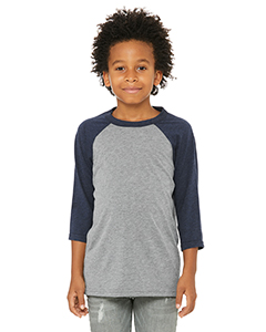 Grey/ Navy Trb Youth 3/4-Sleeve Baseball T-Shirt
