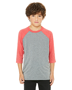 Grey/ Red Trblnd Youth 3/4-Sleeve Baseball T-Shirt