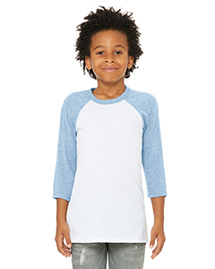White/ Denim Youth 3/4-Sleeve Baseball T-Shirt