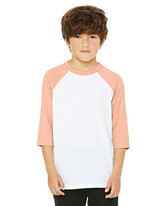 White/ Hth Peach Youth 3/4-Sleeve Baseball T-Shirt