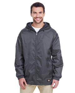 Charcoal Fleece-Lined Hooded Nylon Jacket
