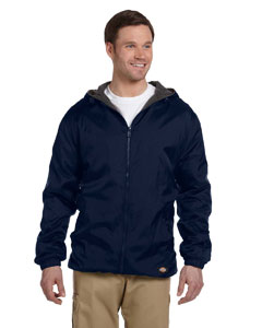Navy Fleece-Lined Hooded Nylon Jacket