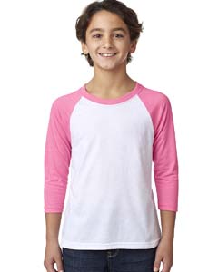 Hot Pink/white Youth CVC 3/4-Sleeve Raglan Tee