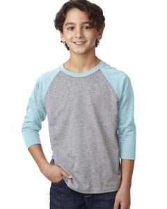 Ice Bl/d Htr Gr Youth CVC 3/4-Sleeve Raglan Tee