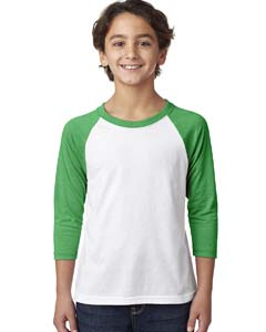 Kelly/white Youth CVC 3/4-Sleeve Raglan Tee