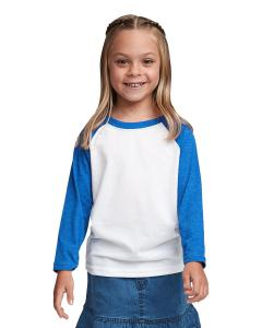 Royal/white Youth CVC 3/4-Sleeve Raglan Tee