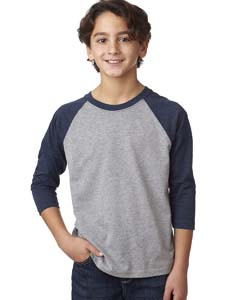 Md Ny/d Htr Gry Youth CVC 3/4-Sleeve Raglan Tee