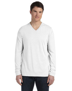 White Men's Jersey Long-Sleeve V-Neck T-Shirt